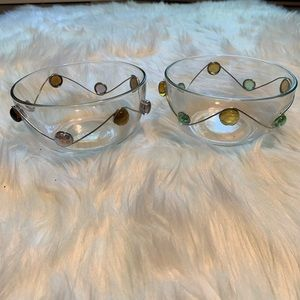 Unbranded Glass Bowls Silver Multicolor Circles
